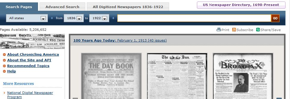 searching us historical newspapers 2013