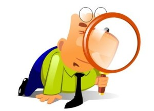 Clerk with big magnifying glass look for something