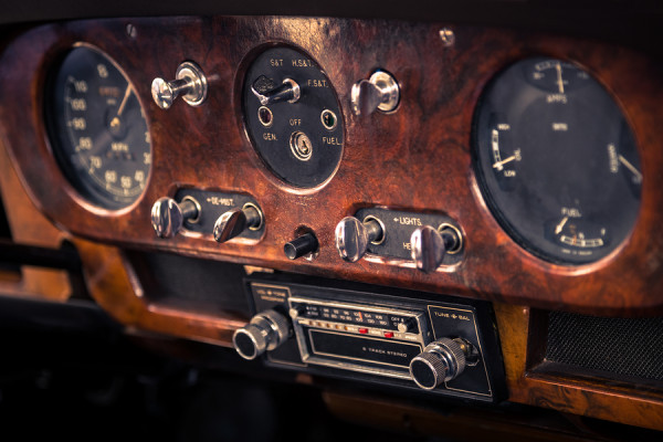 Dashboard in vintage interior of old automobile