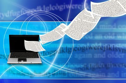 laptop with book pages flying out of its screen, as concept for e-book