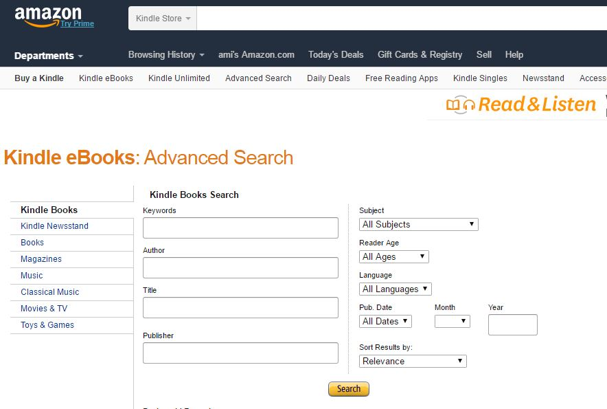 kindle advanced search